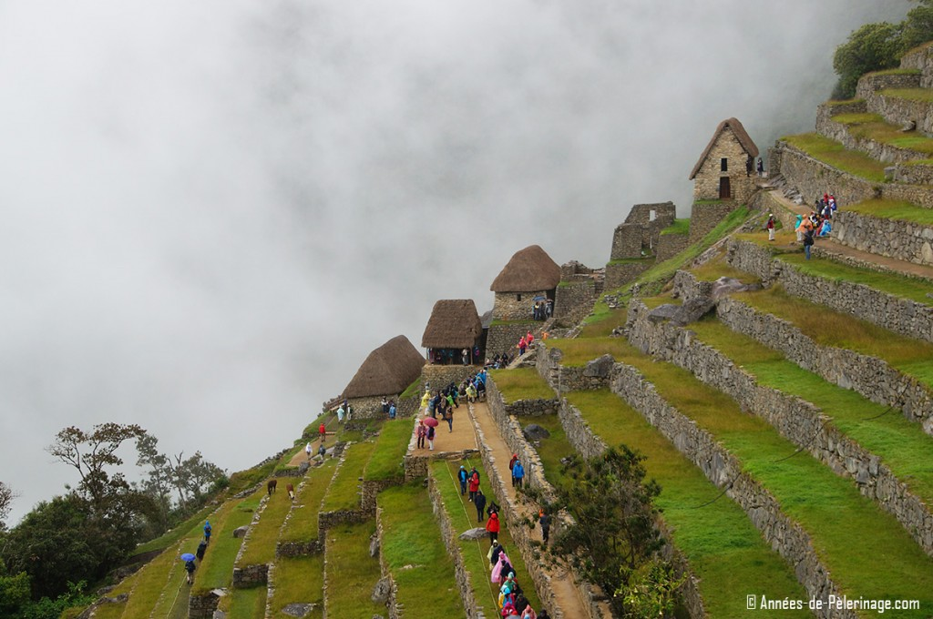 The agricultural sector of Machu Picchu with granaries at the far back