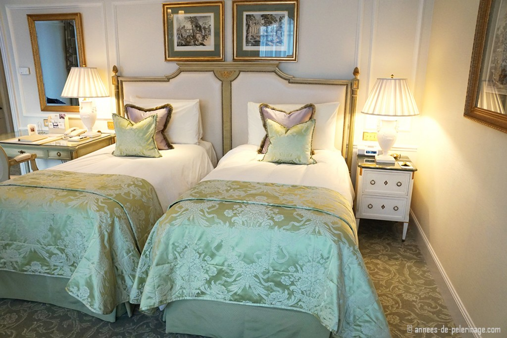 A premium room with two beds at the Four Seasons Hotel George V in Paris