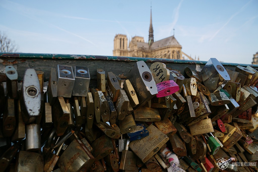 Pont de Larchevêche with its many love locks and the Cathedral of Notre-Dame de Paris in the background