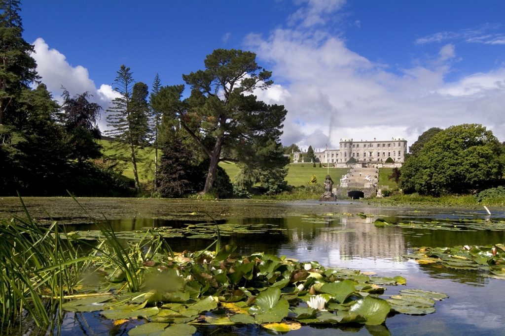 The lower gardens and pond at Powerscourt Garden, Ireland
