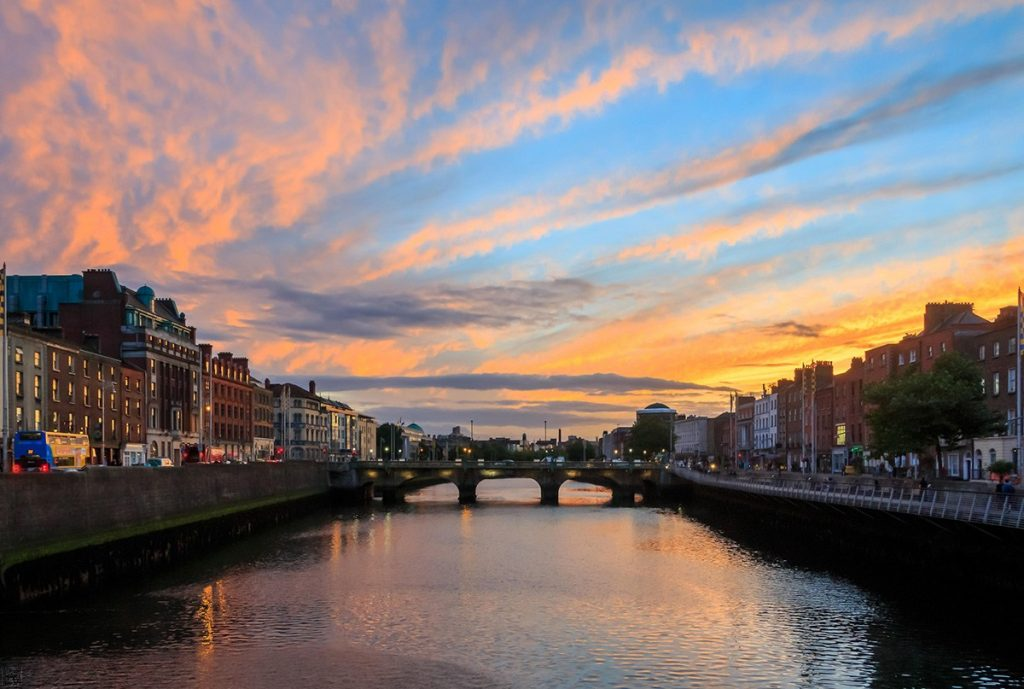 River Liffey in Dublin at sunset, Ireland