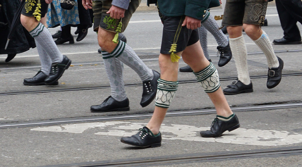different kinds of traditional bavarian socks at Oktoberfest Munich - these complete authentica Oktoberfest costumes