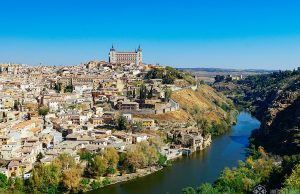 The classic panoramic view of Toledo pain witht he river tagus in the foreground