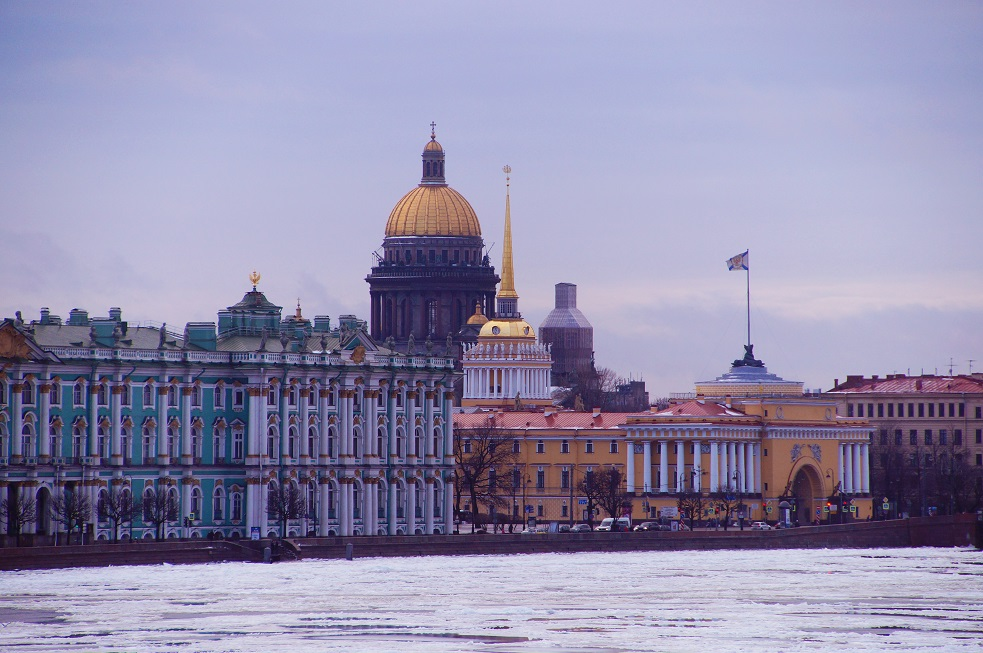 Hermitage with St. Isaac's Cathedral in the background on New Years Eve in St. Petersburg