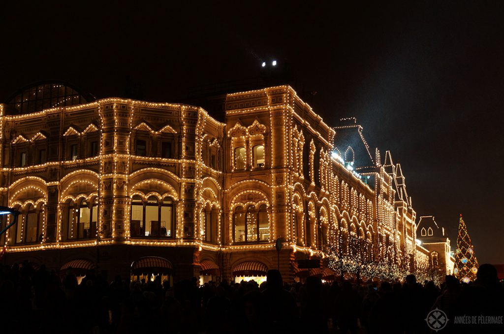 Christmas decoration on Red Square in Moscow in Winter