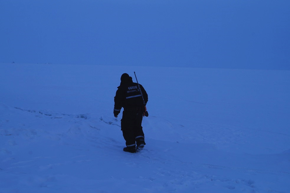 A guide with a gun examining polar bear tracks on the east coast of spitsbergen