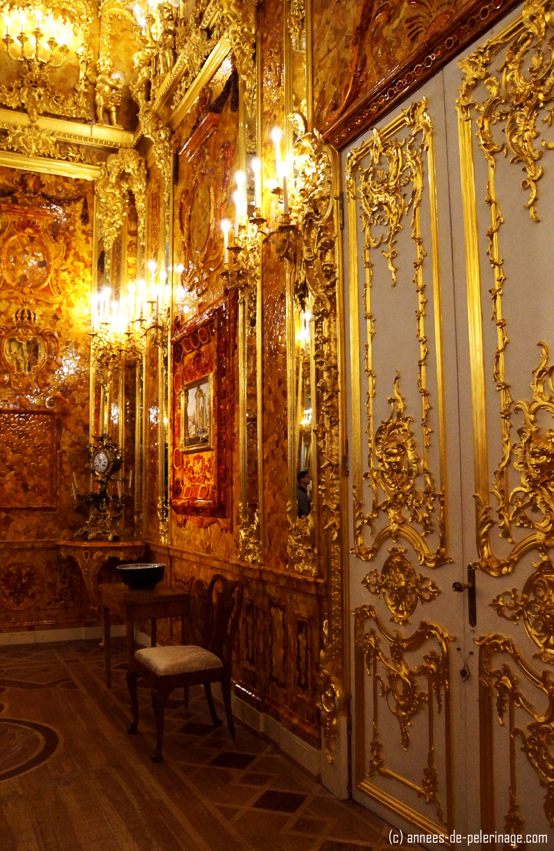 The Amber Room in the Catherine Palace in St. Petersburg