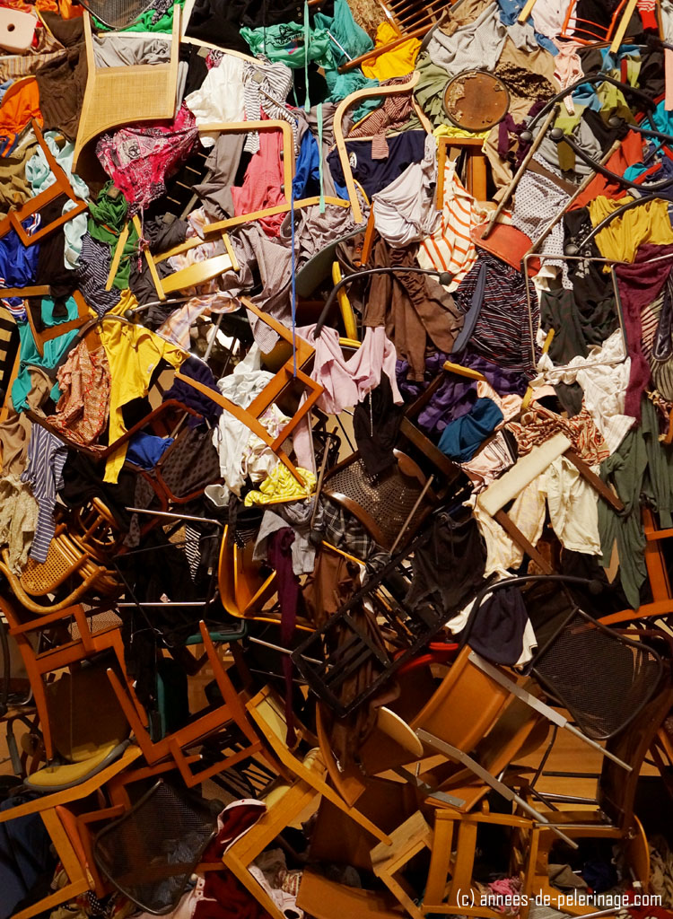 Art installation in the Mori Arts Center in Roppongi hills featuring hundreds of old chairs