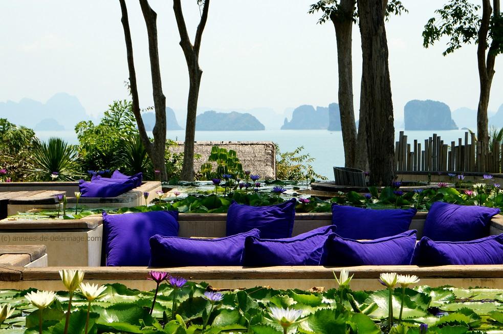The Bar at six senses koh yao noi with a spectacular view over phang nga bay