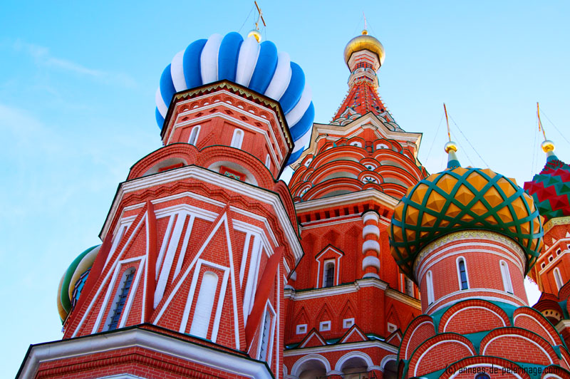 The colorful onion shaped towers of St. Basil's Cathedral in Moscow, Russia