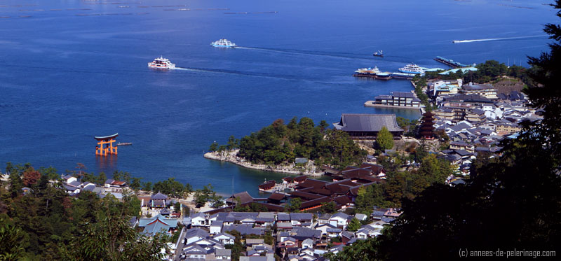 Ferries departing miyajima of the train station at miyajima-guchi