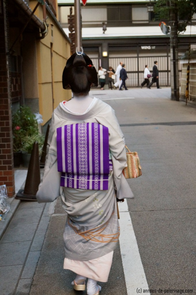 Close-up for a geish (geiko) on the streets of gion, kyoto