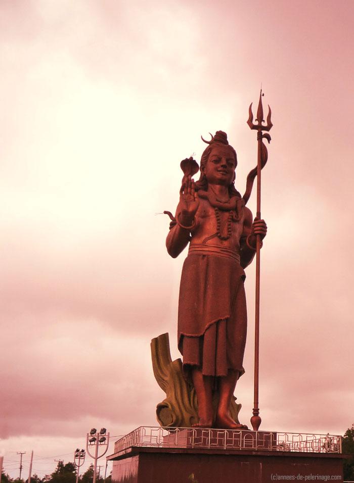 The giant shiva statue near Ganga Talo in Mauritius
