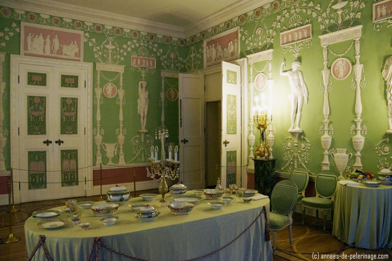 The green dining room in the Catherine Palace, St. Petersburg