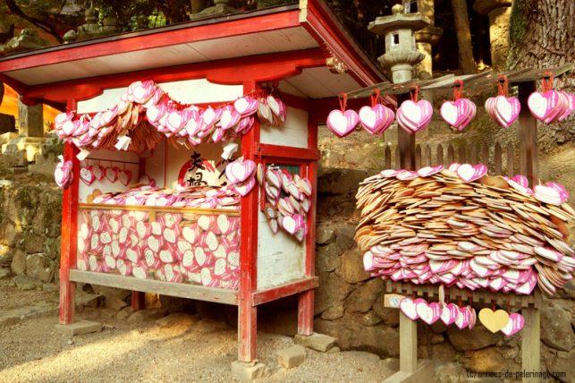heart shaped ema at kasuga-tasiha in nara