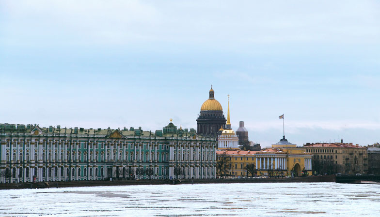State Hermitage Museum seen from the banks of the Newa, St. Petersburg