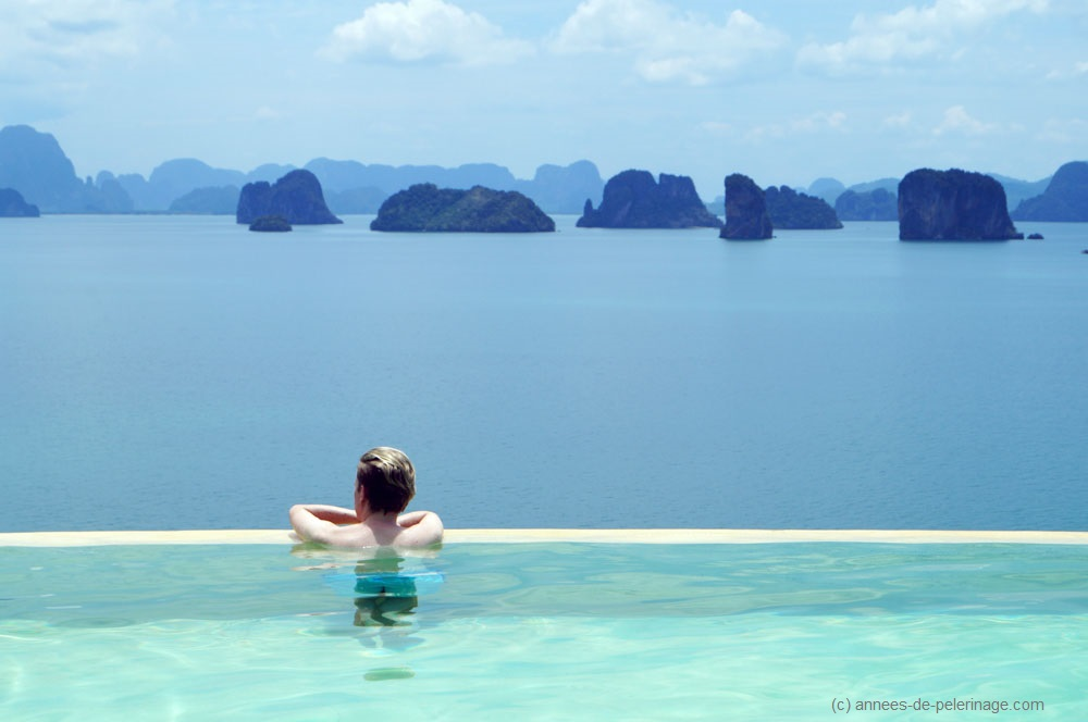 Me lounging in the infinity pool at the Six Senses luxury hotel on Koh Yao Noi, Thailand