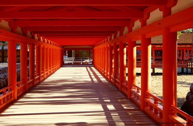 hallways with red columns inside the Itsukushima shrine in miyajima