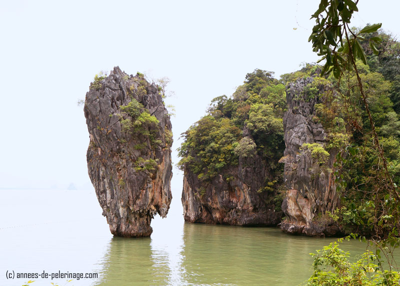 James Bond island in thailand seen from above