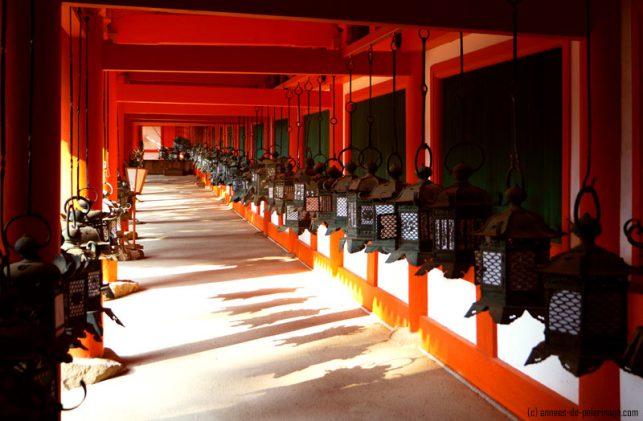 kasuga-taisha nara - red hall with bronze lanterns