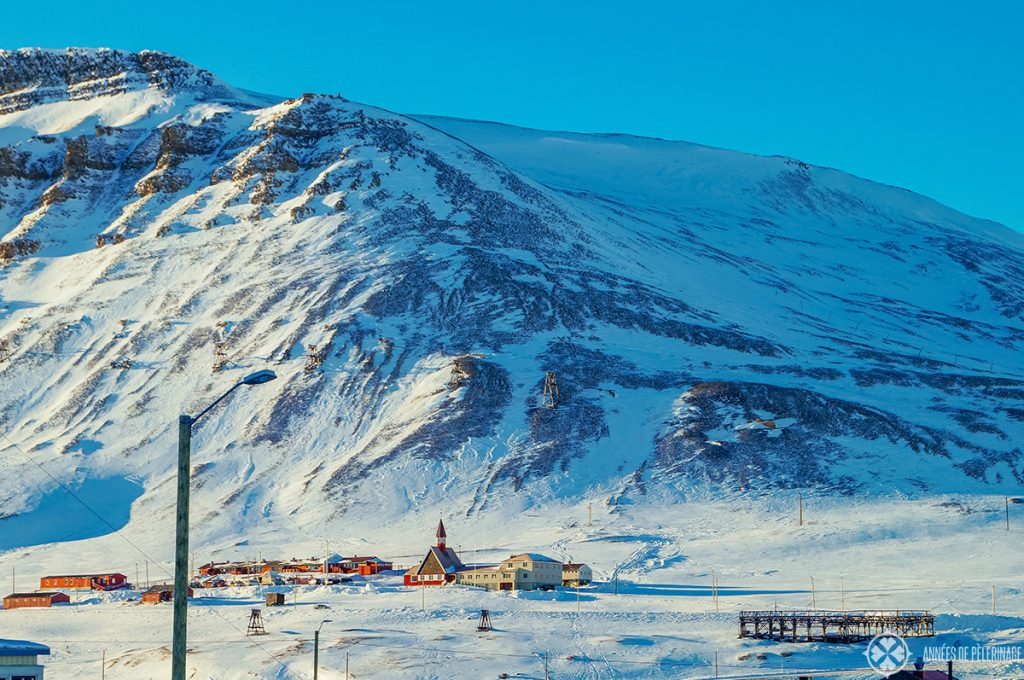 View of the church and town hall of Longyearbyen, Spitsbergen