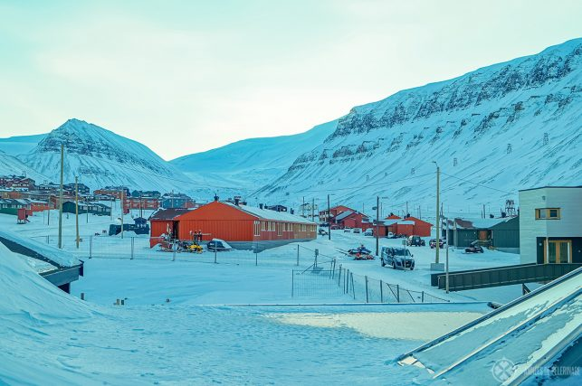 Longyearbyen, the town where almost all hotels in spitsbergen are located