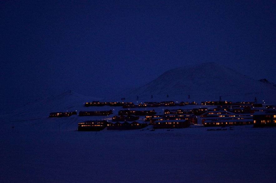 Longyearbyen in Spitsbergen, Svalbard, at night
