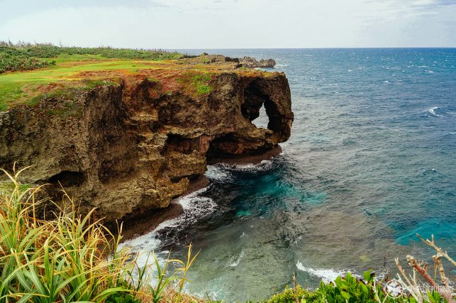 view of the The impressive arch of Manzamo Cliff in Okinawa, Japan