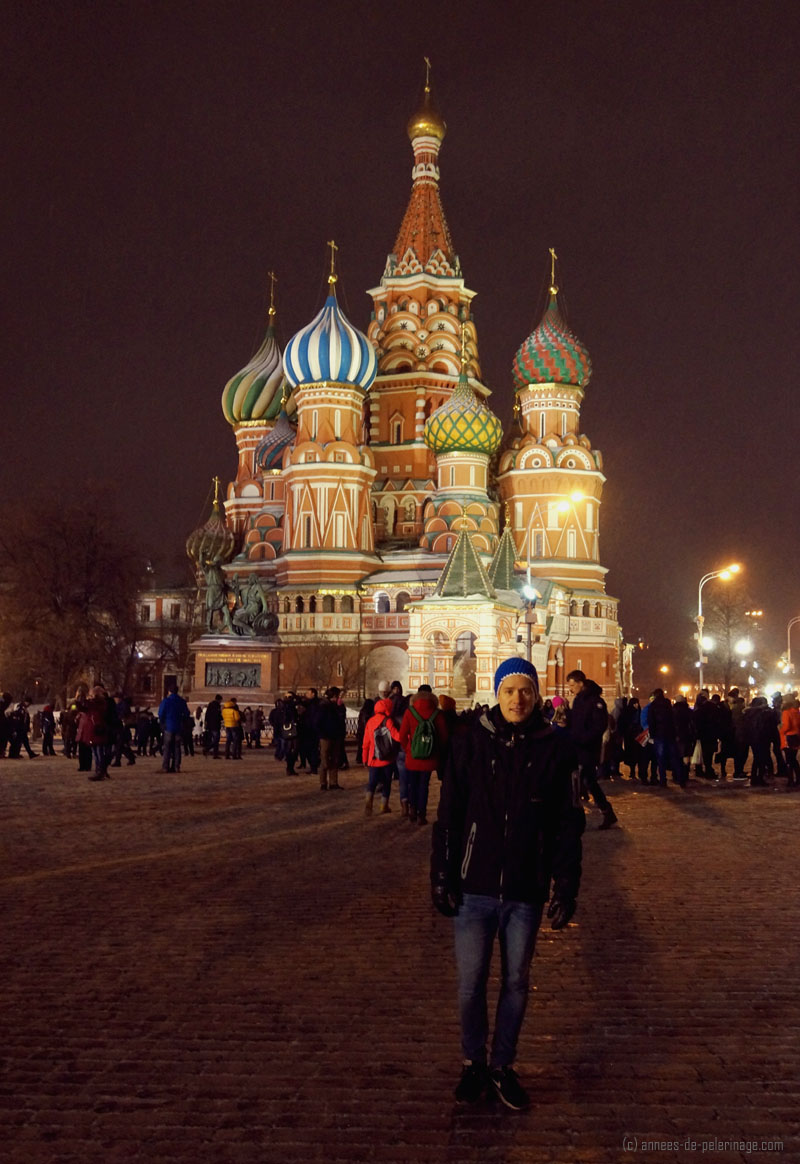 Me in front of St. Basil's Cathedral in Moscow (at night)