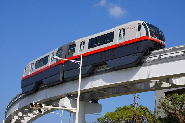 The monorail in Naha, Okinawa, Japan - instead of a subway the built public transport above ground