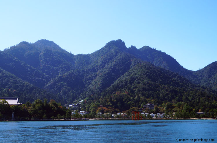 Mount misen in miyajima with the red get of Itsukushima shrine