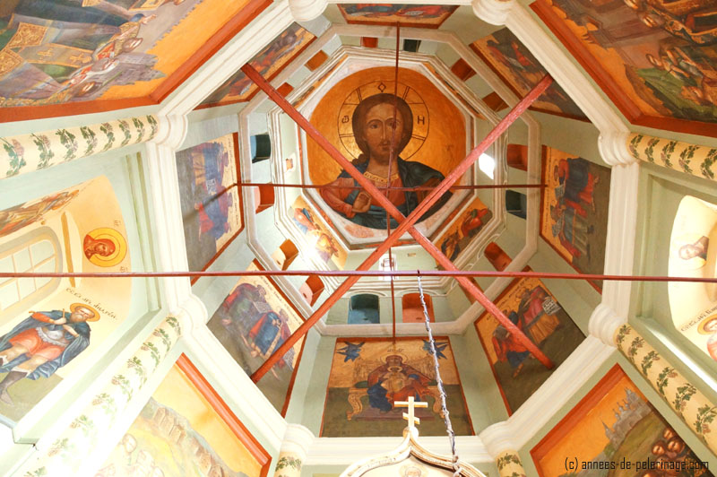 Colorful murals inside the spires of the St. Basil's Cathedral in Moscow