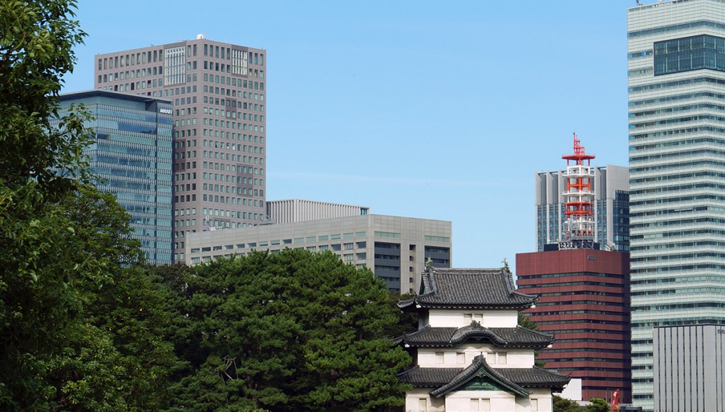The old part of the imperial palace in Tokyo - once known as Edo castle