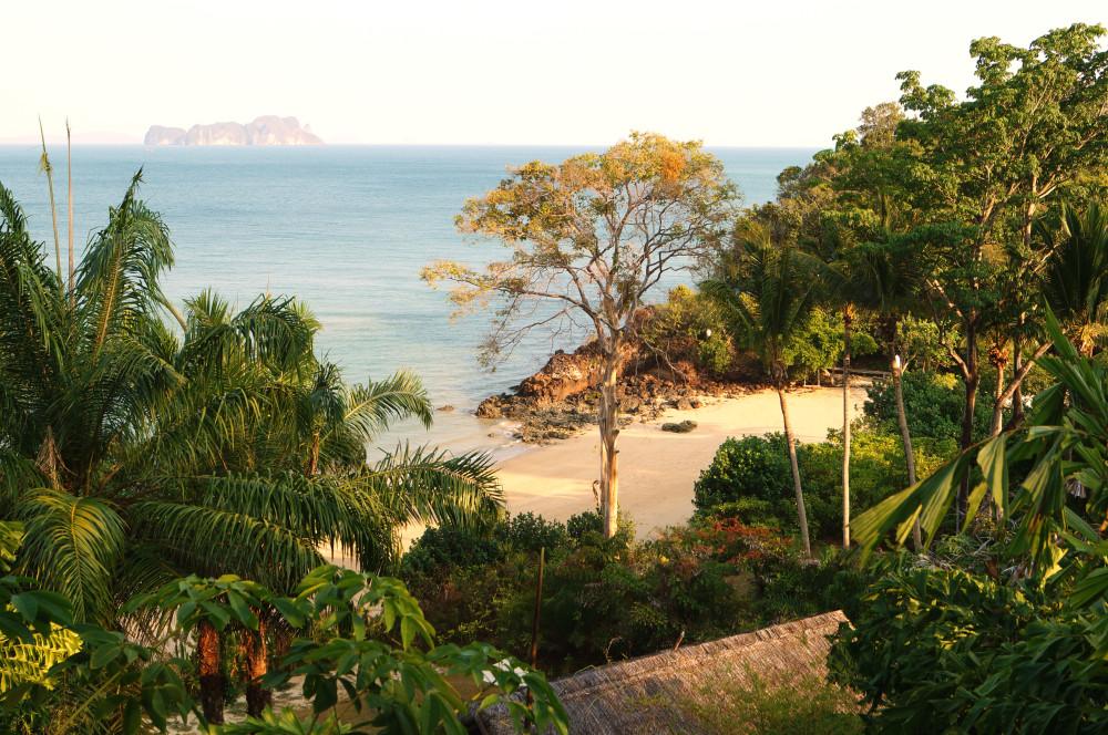 the private beach of the six senses resort on koh yao noi