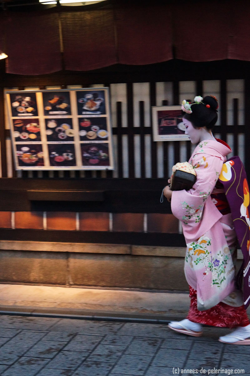 profile of geisha (meiko) in hanami lane in gion, kyoto