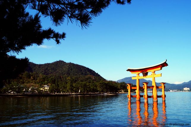 The red torii of the Itsukushima shrine in miyajima at high tide