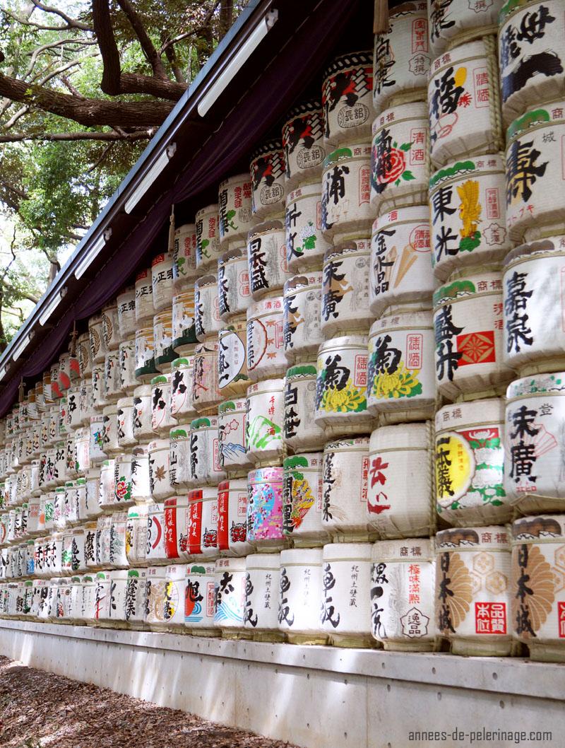 Sake barrels at meiji shrine tokyo, japan