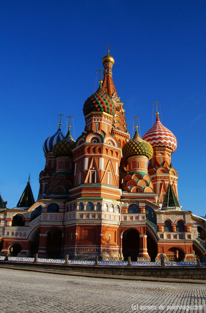 St. Basil's Cathedral in Moscow (Russia) in bright daylight