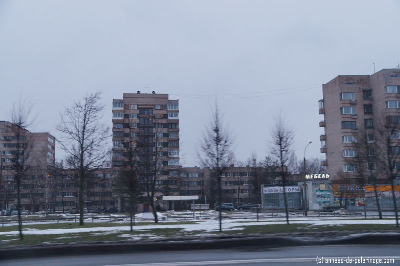 the suburbs of St. Petersburg seen from a taxi on our way to Pushkin