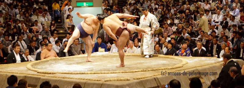 wrestlers stretching and stomping their legs before the sumo wrestling match begins