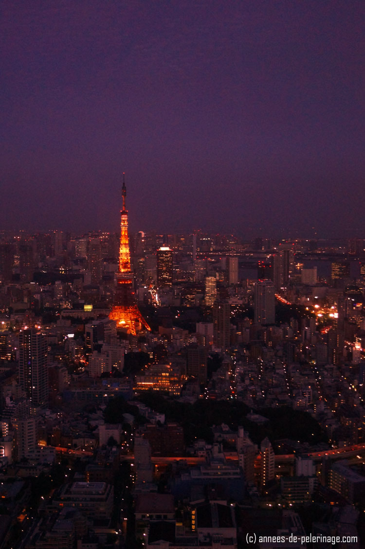 Tokyo Tower at night seen from the Mori Tower at Roppongi Hills