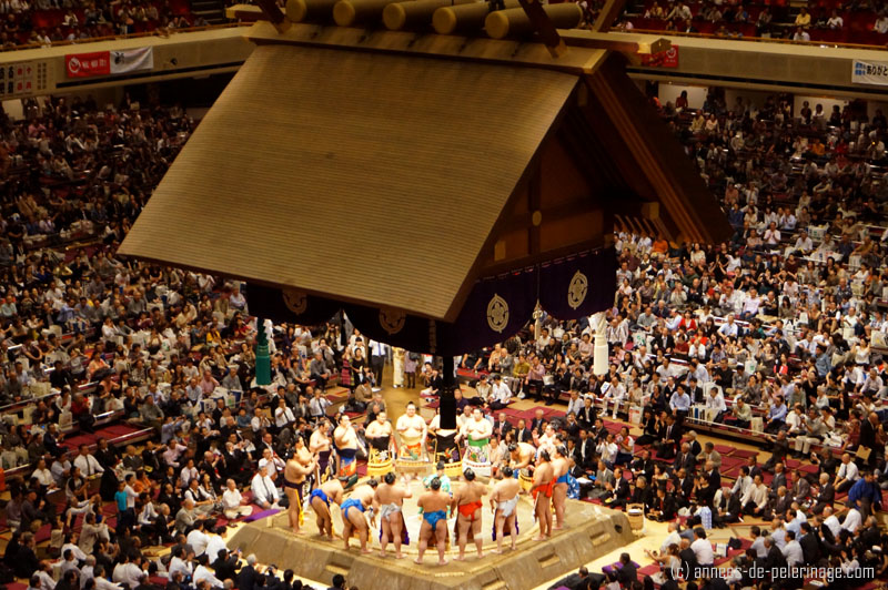 The makuuchi top division sumo wrestlers performing their opening ceremony wearing special loin clothes