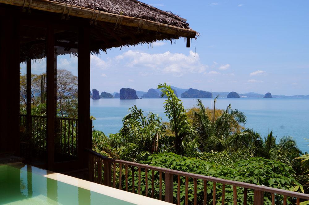 Private ocean view villa at six senses koh yao noi with view over the phang nga bay