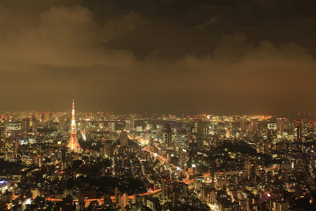 View from the Mori Towers in Roppongi Hills at night night. Best view in Tokyo