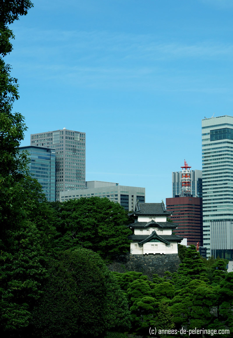 view on marunouchi from the imperial palace tokyo with Fujimi-yagura
