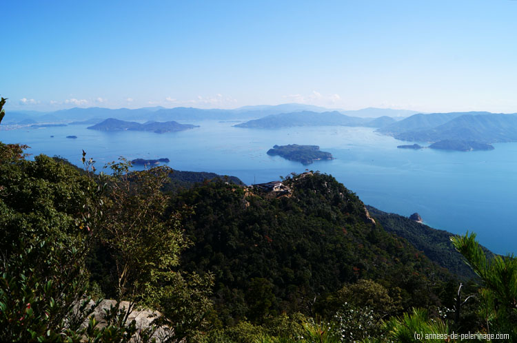 view over the inland sea from mount misen in miyajima