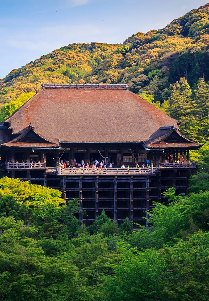 Kiyomizu-dera in Kyoto and its huge wooden stage.