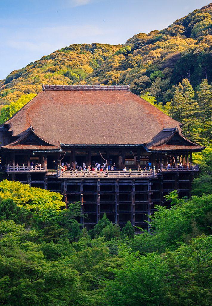 Kiyomizu-dera in Kyoto and its huge wooden stage.