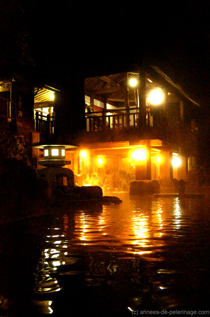 The pools at Takaragawa-onsen at night - one of the reasons this is the best onsen in japan