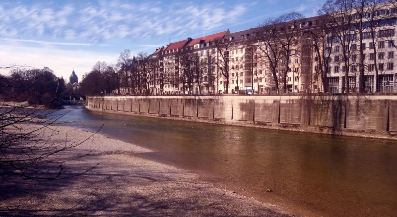 houses along the banks of the isar in munich